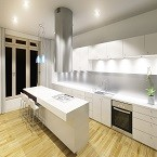 Modern kitchen interior night shot with nice flare from the spotlight